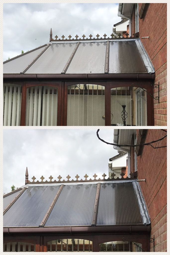 Conservatory Roof Clean Before and After