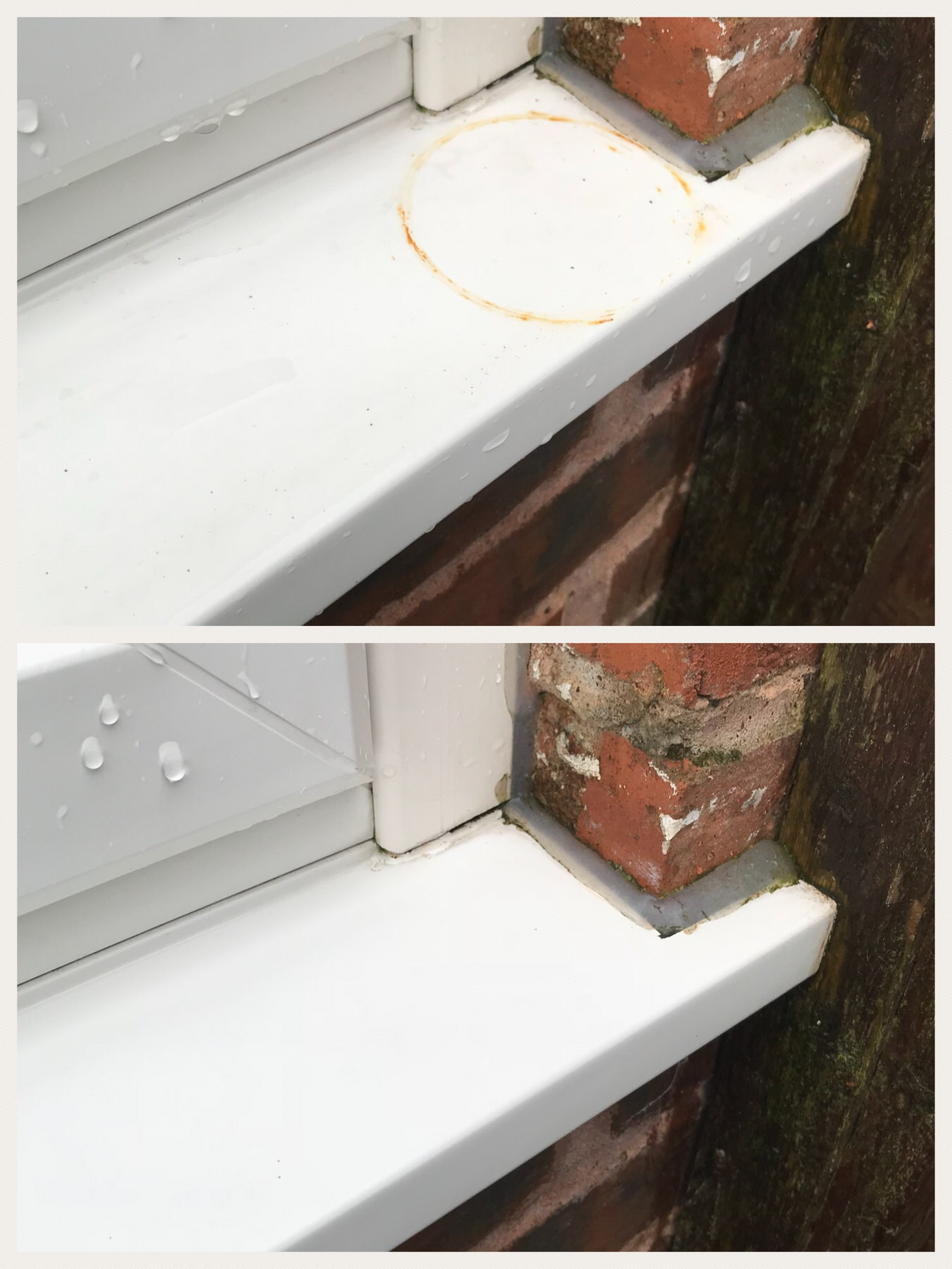 Rust stain removal from window frame.